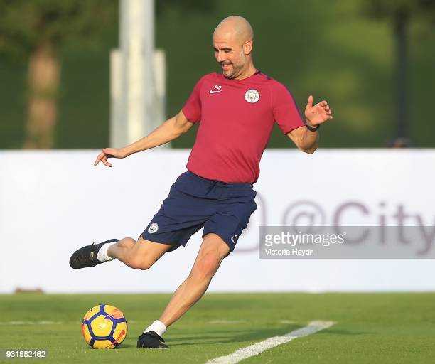 Head Caoch Pep Guardiola of Manchester City during the Abu Dhabi Warm Weather Training Camp on March 13 2018 in Abu Dhabi United Arab Emirates
