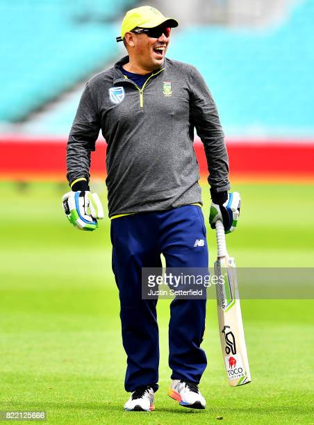 Head Caoch Russell Domingo of South Africa takes part in practice ahead of the 3rd Investec Test between England and South Africa at The Kia Oval on...