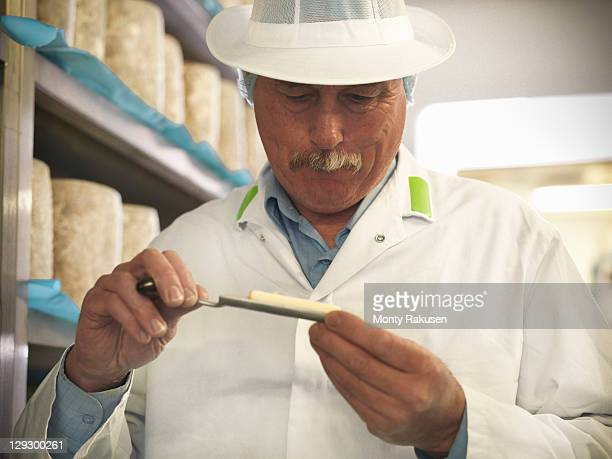 head cheese-maker taking sample of blue cheese in cheese-making factory - artisan stock photos and pictures