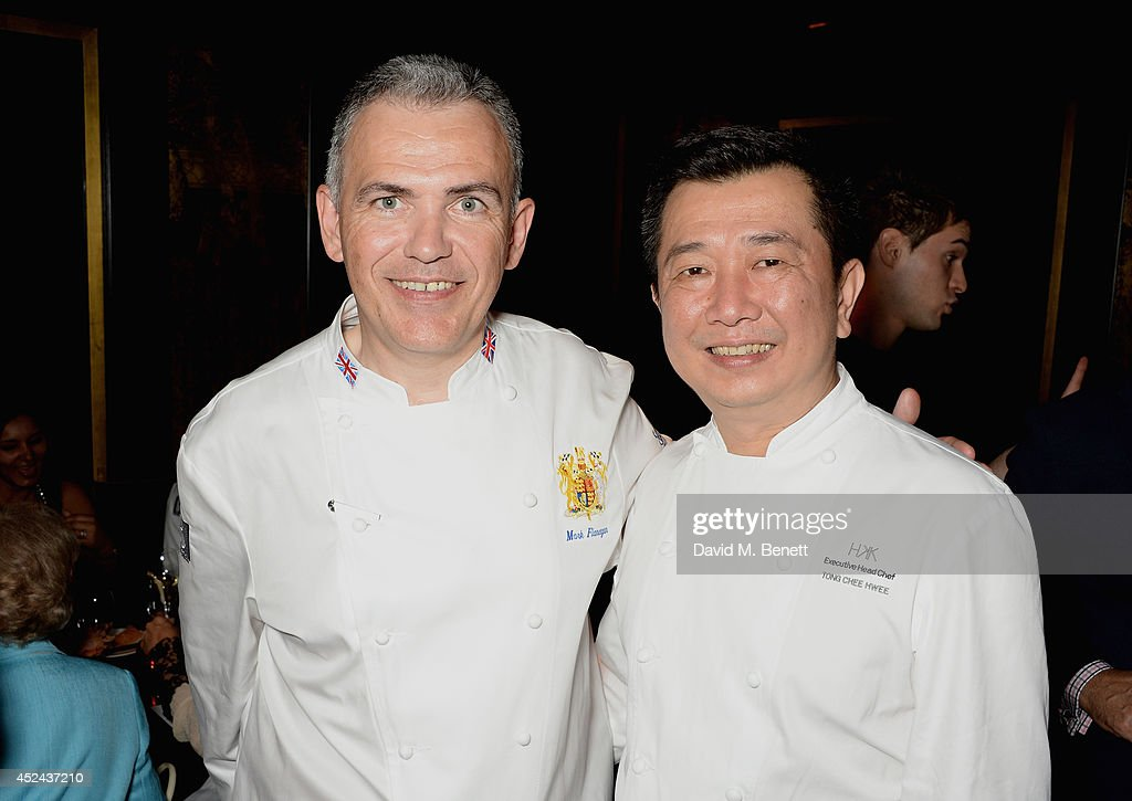 Head Chef to the UK Royal household Mark Flanagan and Hakkasan Executive Head Chef Tong Chee Hwee attend Le Club des Chefs des Chefs dinner at Hakkasan Hanway Place on July 20, 2014 in London, England.