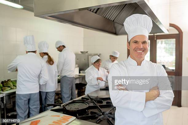 Head chef working at a commercial kitchen