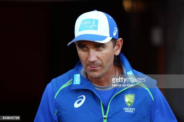 Head choach Justin Langer looks on during the International Twenty20 match between Australia and Sri Lanka at Adelaide Oval on February 22 2017 in...