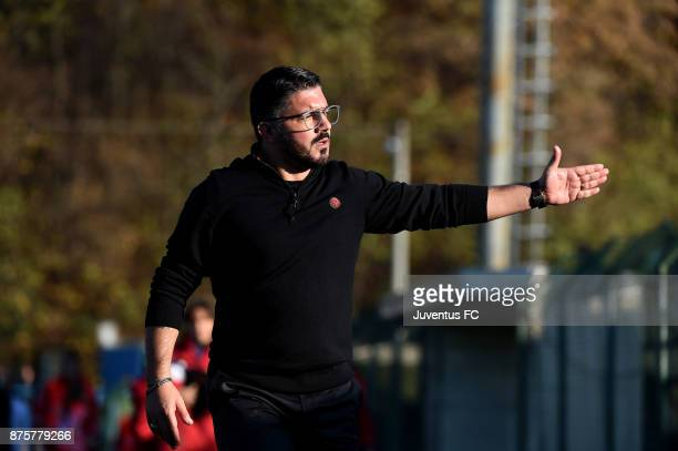 Head Coac of AC Milan U19 Gennaro Gattuso gestures during the Serie A Primavera match between AC Milan U19 and Juventus U19 at on November 18 2017 in...