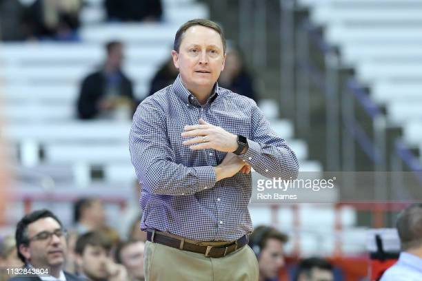 Head coach Aaron Johnston of the South Dakota State Jackrabbits reacts to a play against the Syracuse Orange during the first half in the second...