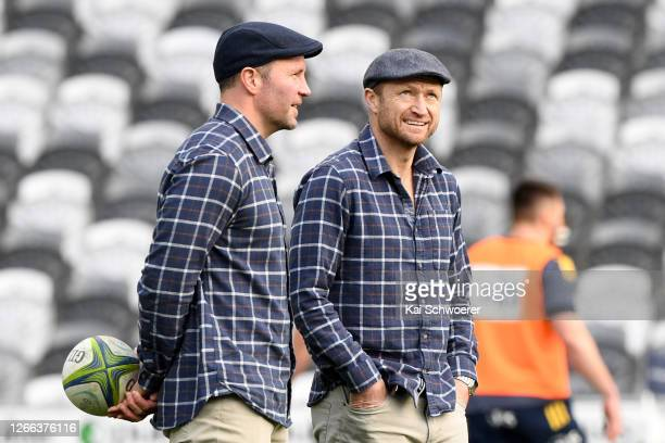 Head coach Aaron Mauger and assistant coach Tony Brown of the Highlanders look on ahead of the round 10 Super Rugby Aotearoa match between the...