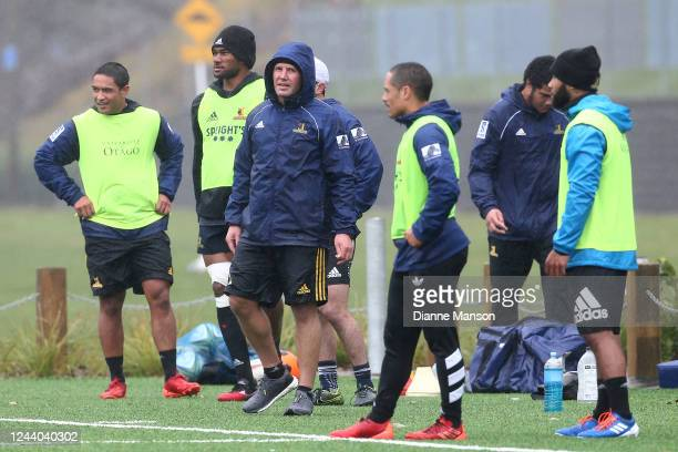Head coach Aaron Mauger looks on during a Highlanders Super Rugby training session at Logan Park on June 03 2020 in Dunedin New Zealand