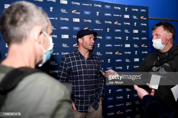 Head coach Aaron Mauger of the Highlanders is interviewed after losing the round 10 Super Rugby Aotearoa match between the Highlanders and the...