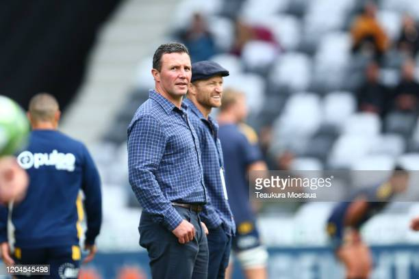 Head coach Aaron Mauger of the Highlanders looks before the round 2 Super Rugby match between the Highlanders and the Sharks at Forsyth Barr Stadium...