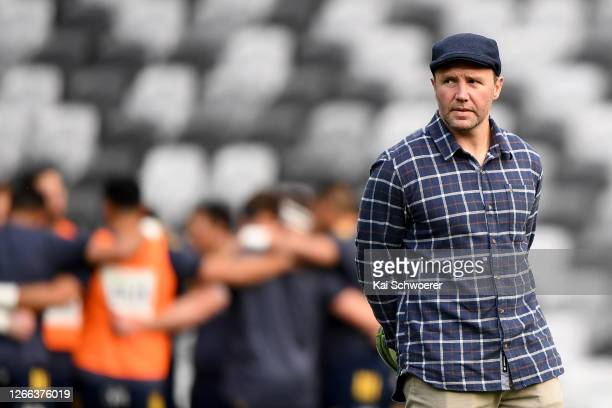 Head coach Aaron Mauger of the Highlanders looks on ahead of the round 10 Super Rugby Aotearoa match between the Highlanders and the Hurricanes at...