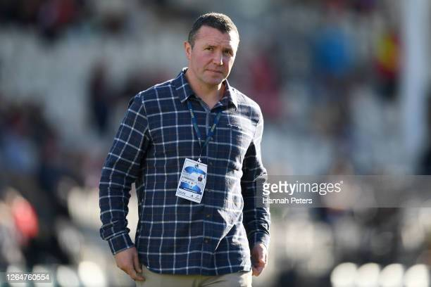 Head coach Aaron Mauger of the Highlanders looks on ahead of the round 9 Super Rugby Aotearoa match between the Crusaders and the Highlanders at...