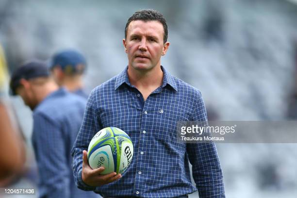Head coach Aaron Mauger of the Highlanders looks on before the round 2 Super Rugby match between the Highlanders and the Sharks at Forsyth Barr...