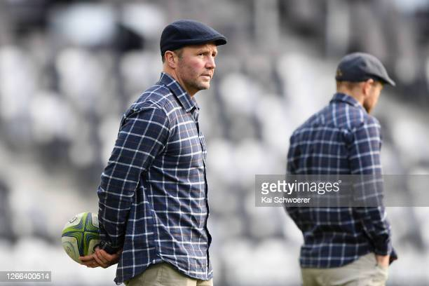 Head Coach Aaron Mauger of the Highlanders looks on prior to the round 10 Super Rugby Aotearoa match between the Highlanders and the Hurricanes at...