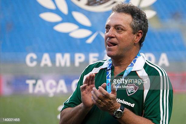 Head coach Abel Braga of Fluminense celebrate the title againist Vasco during the final match Fluminense v Vasco as part of Rio State Championship...