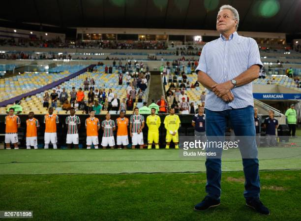Head coach Abel Braga of Fluminense receives the tribute of fans for the death of his son Joao Pedro Braga last Saturday during a match between...