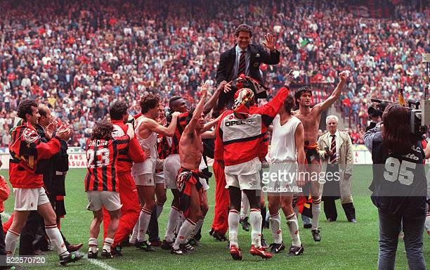 Head coach AC Milan Fabio Capello celebrates at the end of the Serie A match between AC Milan and ACF Fiorentina played at Giuseppe Meazza stadium in...