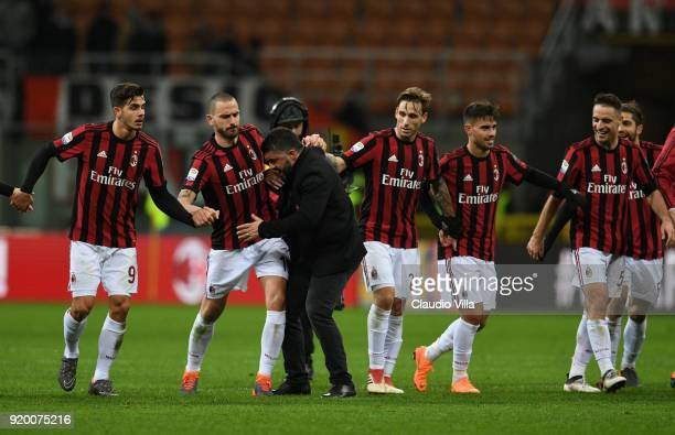 Head coach AC Milan Gennaro Gattuso celebrates at the end of the serie A match between AC Milan and UC Sampdoria at Stadio Giuseppe Meazza on...