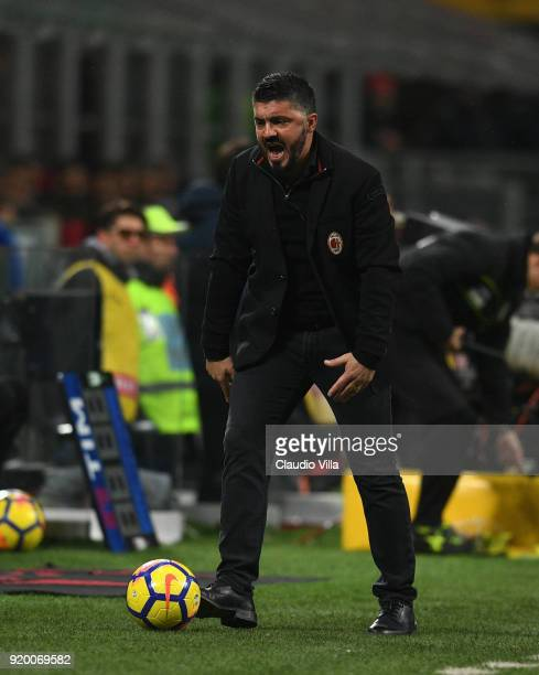 Head coach AC Milan Gennaro Gattuso reacts during the serie A match between AC Milan and UC Sampdoria at Stadio Giuseppe Meazza on February 18 2018...