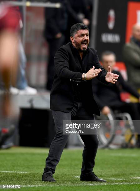 Head coach AC Milan Gennaro Gattuso reacts during the serie A match between AC Milan and SSC Napoli at Stadio Giuseppe Meazza on April 15 2018 in...