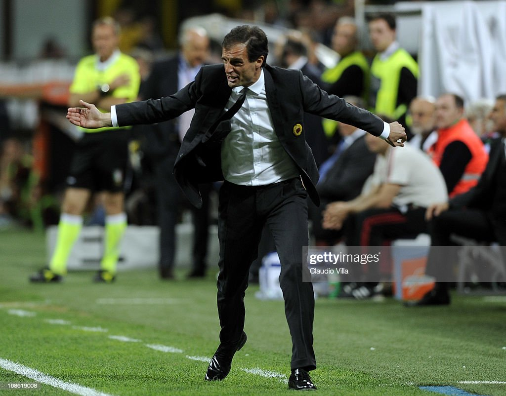 Head coach AC Milan Massimiliano Allegri reacts during the Serie A match between AC Milan and AS Roma at San Siro Stadium on May 12, 2013 in Milan, Italy.