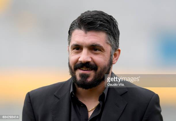 Head coach AC Pisa Gennaro Gattuso looks on prior to the friendly match between AC Pisa and Tianjin Quanjian at Arena Garibaldi on February 8 2017 in...