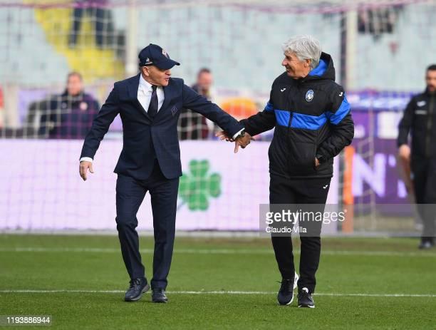 Head coach ACF Fiorentina Giuseppe Iachini and head coach Atalanta Gian Piero Gasperini chat before Serie A match between ACF Fiorentina and Atalanta...