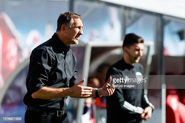 head coach Achim Beierlorzer of 1FSV Mainz 05 gestures during the Bundesliga match between RB Leipzig and 1 FSV Mainz 05 at Red Bull Arena on...