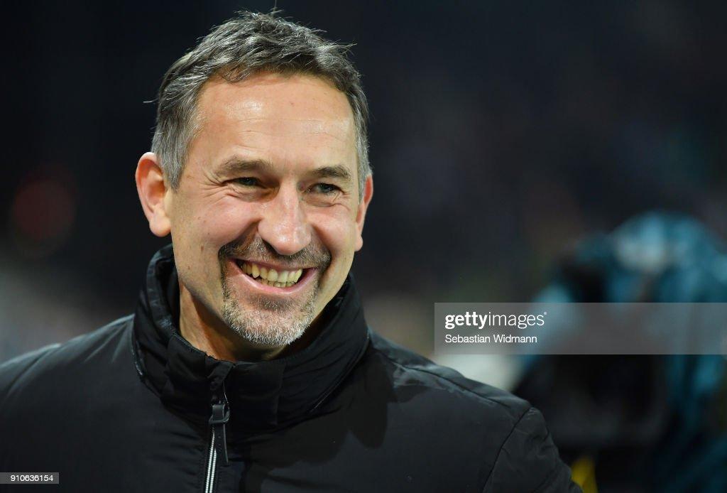 Head coach Achim Beierlorzer of Regensburg smiles prior to the Second Bundesliga match between SSV Jahn Regensburg and FC Ingolstadt 04 at Continental Arena on January 26, 2018 in Regensburg, Germany.