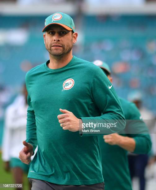 Head coach Adam Gase of the Miami Dolphins in action against the Jacksonville Jaguars at Hard Rock Stadium on December 23 2018 in Miami Florida