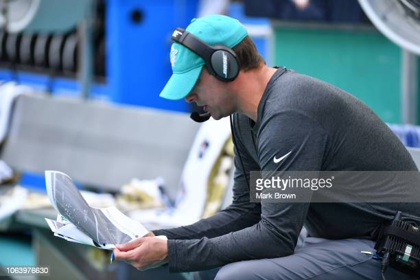 Head coach Adam Gase of the Miami Dolphins in action coaching against the New York Jets at Hard Rock Stadium on November 4 2018 in Miami Florida