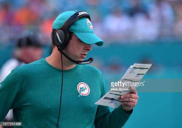Head coach Adam Gase of the Miami Dolphins in action during the game against the Buffalo Bills at Hard Rock Stadium on December 2 2018 in Miami...