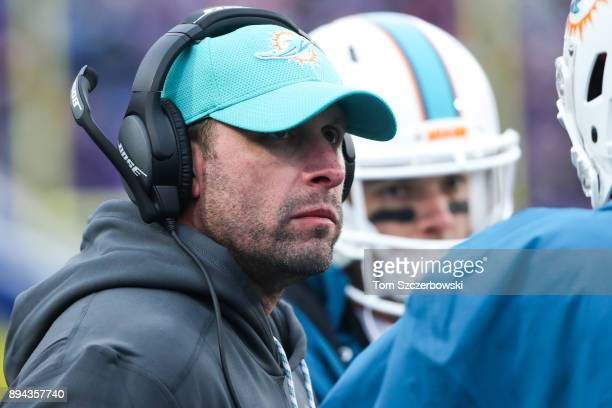 Head Coach Adam Gase of the Miami Dolphins looks at the field during the fourth quarter against the Buffalo Bills on December 17 2017 at New Era...
