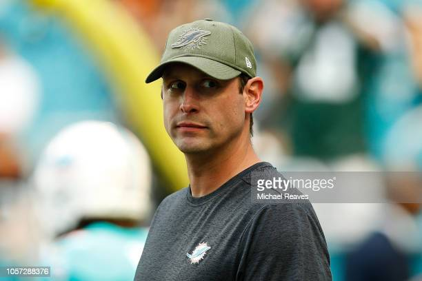 Head coach Adam Gase of the Miami Dolphins looks on ahead of their game against the New York Jets at Hard Rock Stadium on November 4 2018 in Miami...