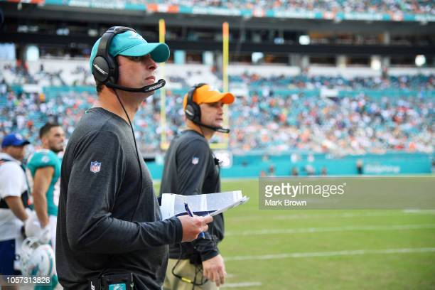 Head coach Adam Gase of the Miami Dolphins looks on in the first half of their game against the New York Jets at Hard Rock Stadium on November 4 2018...