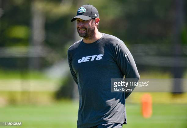 Head coach Adam Gase of the New York Jets coaching during mandatory minicamp at The Atlantic Health Jets Training Center on June 4 2019 in Florham...