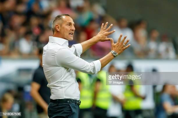 Head coach Ade Huetter of Eintracht Frankfurt gestures during the DFL Supercup match between Eintracht Frankfurt and Bayern Muenchen at...