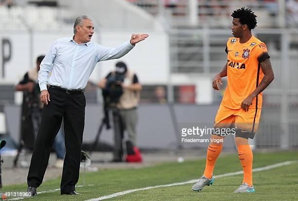 Head coach Adenor Leonardo Bachi gives advise to Gil of Corinthians during the match between Ponte Preta and Corinthians for the Brazilian Series A...