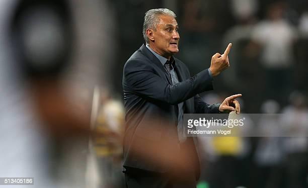 Head coach Adenor Leonardo Bachi of Corinthians gives advise during a match between Corinthians and Santa Fe as part of Group 8 of Copa Bridgestone...