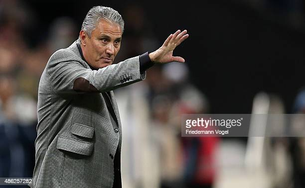 Head coach Adenor Leonardo Bachi of Corinthians gives advise during the match between Corinthians and Fluminense for the Brazilian Series A 2015 at...