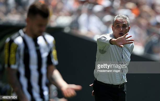 Head coach Adenor Leonardo Bachi of Corinthians gives advise during the match between Corinthians and Santos for the Brazilian Series A 2015 at Arena...