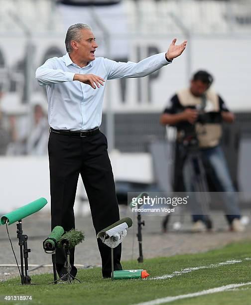 Head coach Adenor Leonardo Bachi of Corinthians gives advise during the match between Ponte Preta and Corinthians for the Brazilian Series A 2015 at...