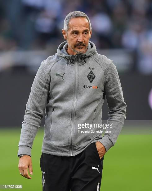 Head coach Adi Huetter of Moenchengladbach looks on during the Bundesliga match between Borussia Mönchengladbach and VfB Stuttgart at Borussia-Park...