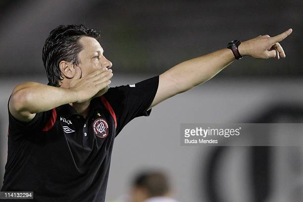 Head coach Adilson Batista of Atletico Paranaense reacts during a match as part of Brazil Cup 2011 at Sao Januario stadium on May 12 2011 in Rio de...