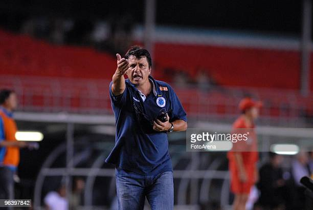 Head coach Adilson Batista of Brazil's Cruzeiro gestures during a match against Bolivia's Real Potosi as part of the 2010 Libertadores at the...
