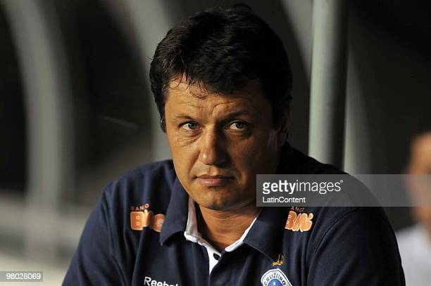 Head coach Adilson Batista of Brazil's Cruzeiro reacts during a match against Venezuela's Deportivo Italia as part of the 2010 Libertadores Cup at...