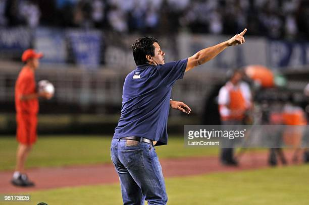 Head coach Adilson Batista of Brazil's Cruzeiro reacts during a match against Argentina's Velez Sarsfield as part of the Libertadores Cup 2010 at...