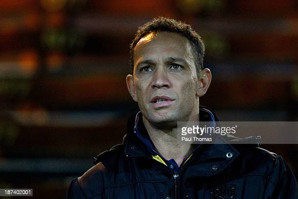 Head coach Adrian Lam of Papua New Guinea watches on before the Rugby League World Cup Group B match between New Zealand and Papua New Guinea at...