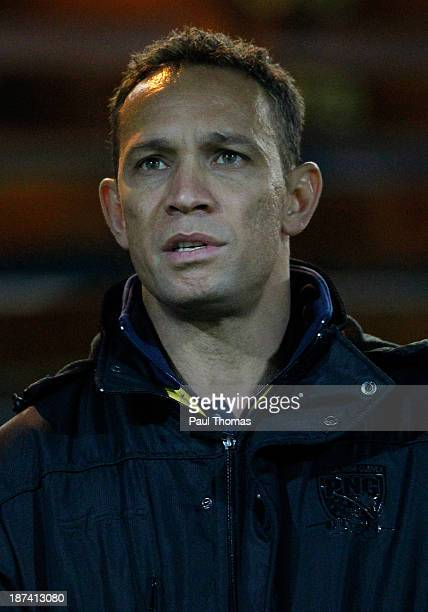 Head coach Adrian Lam of Papua New Guinea watches on before the Rugby League World Cup Group B match at Headingley Stadium on November 8 2013 in...