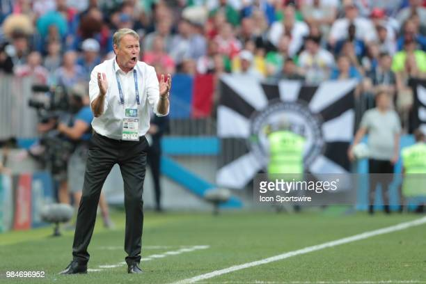 head coach Age Hareide of Denmark during the Group C the 2018 FIFA World Cup soccer match between Denmark and France on June 26 at Luzhniki Stadium...