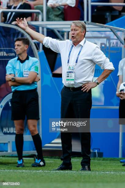 Head coach Age Hareide of Denmark gestures during the 2018 FIFA World Cup Russia group C match between Denmark and France at Luzhniki Stadium on June...