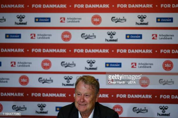 Head coach Age Hareide of Denmark gives an interview in the press conference after the UEFA Euro 2020 Qualifier match between Denmark and Republic of...